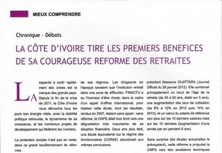 Ivory Coast derives the first benefits from courageous pension reform