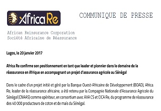 Africa RE confirms its position as a leader and pioneer in the field of reinsurance in Africa by supporting an agricultural insurance project in Senegal