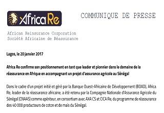 Africa RE confirme son positionnement en tant que leader et pionnier dans le domaine de la réassurance en Afrique en accompagnant un projet d'assurance agricole au Sénégal